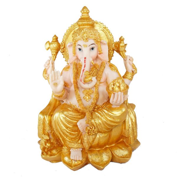 Estatueta Ganesha Flor de Lótus Dourada