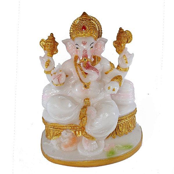 Estatueta Ganesha Branco Sentado