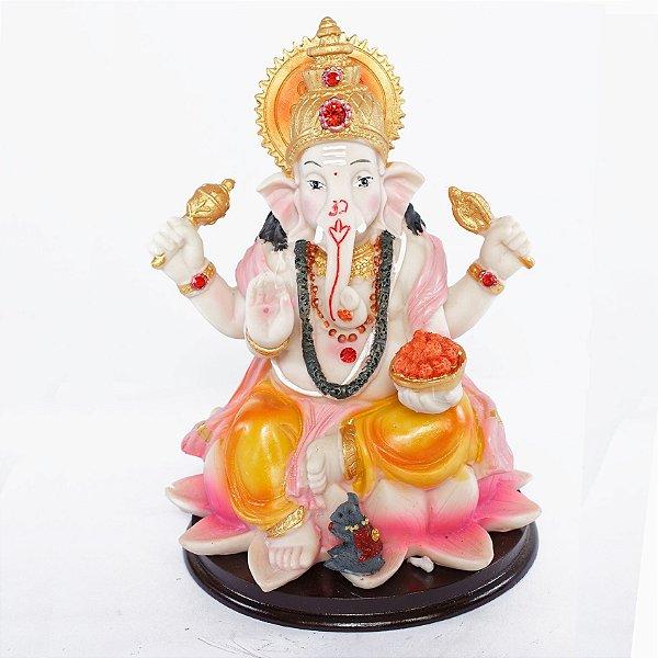 Estatueta Ganesha na Flor de Lótus Colorida