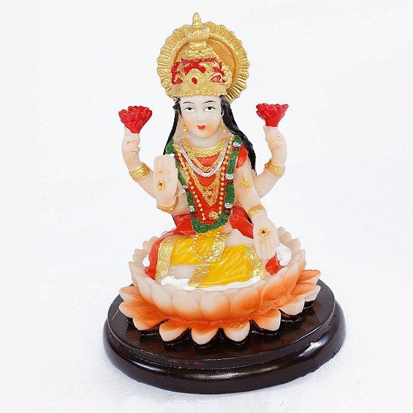 Estatueta Lakshmi Flor de Lótus Colorida Pequena
