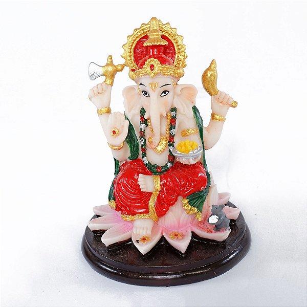 Estatueta Ganesha na Flor de Lótus Colorida Pequena