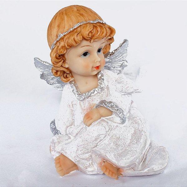 Estatueta Anjo Sentando com Pomba LED