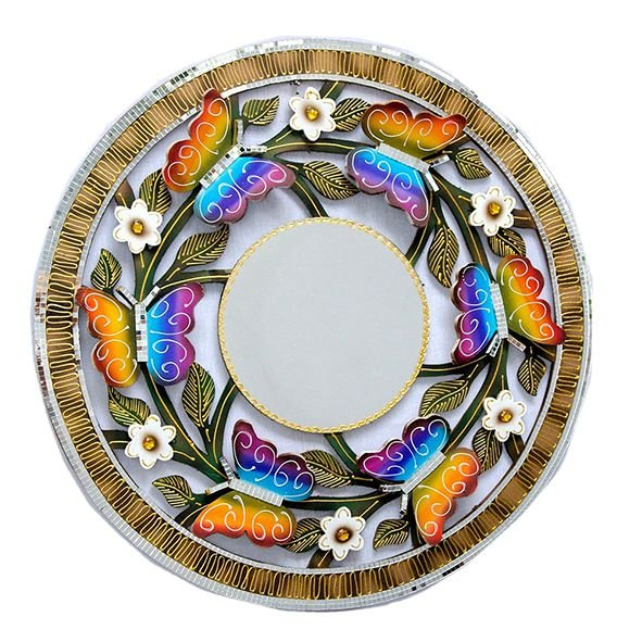 Mandala Borboleta Voando com Espelho - MDF