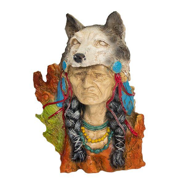 Busto Índio com Lobo na Cabeça