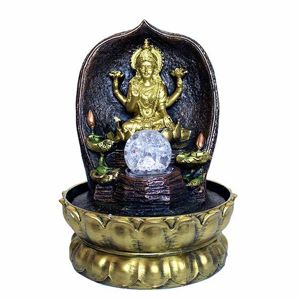 Fonte Lakshmi no Trono com Bola de Cristal