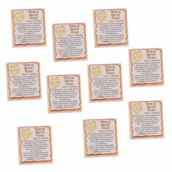 Amuleto Trevo de Quatro Folhas - Pacote com 10