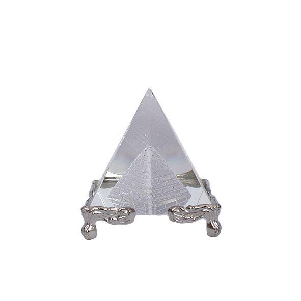 Pirâmide de Vidro Base Prata - P