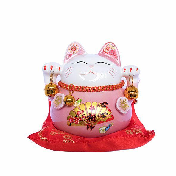 Gato Maneki Neko com Almofada