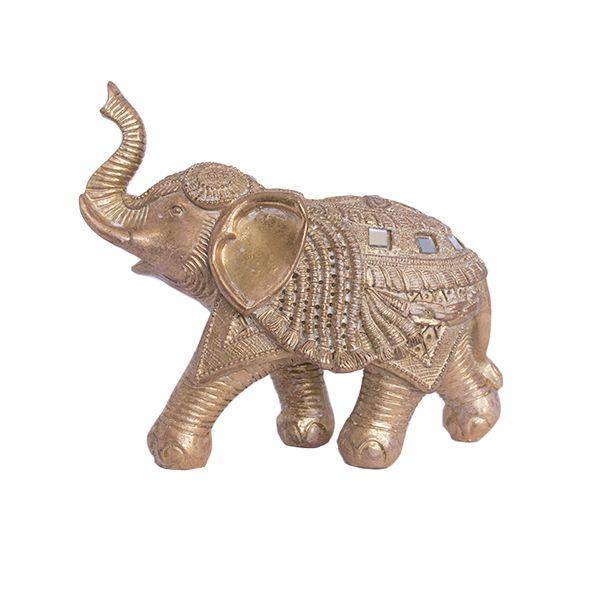 Elefante Dourado com Strass - M