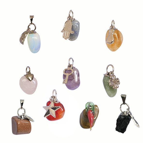 Kit 10 Pingentes de Pedras Diversas