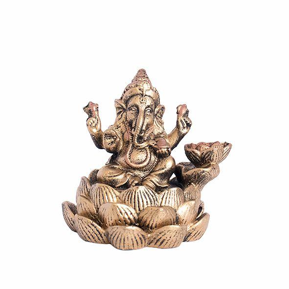 Incensário Cascata Ganesha na Flor de Lótus