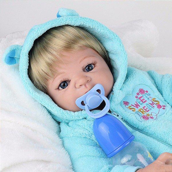 Bebê Reborn Menino Júnior de Silicone com 55 cm