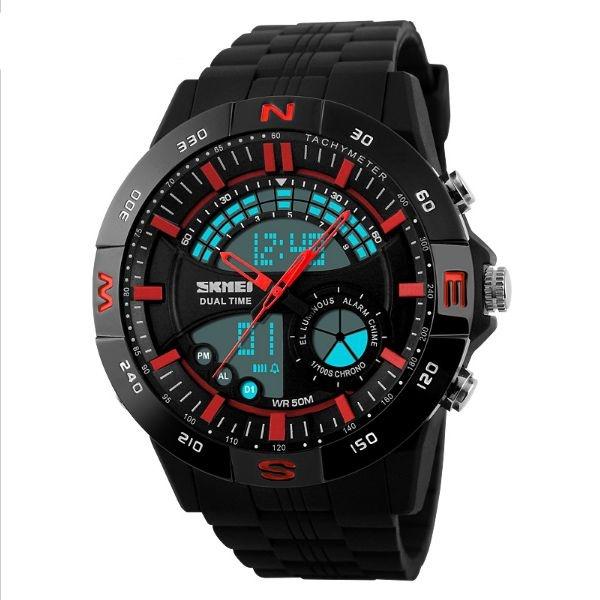 Relógio Masculino Skmei AnaDigi 1110 - Preto e Vermelho