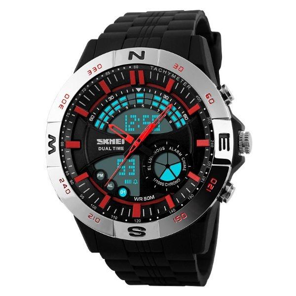 Relógio Masculino Skmei Anadigi 1110 Prata e Vermelho
