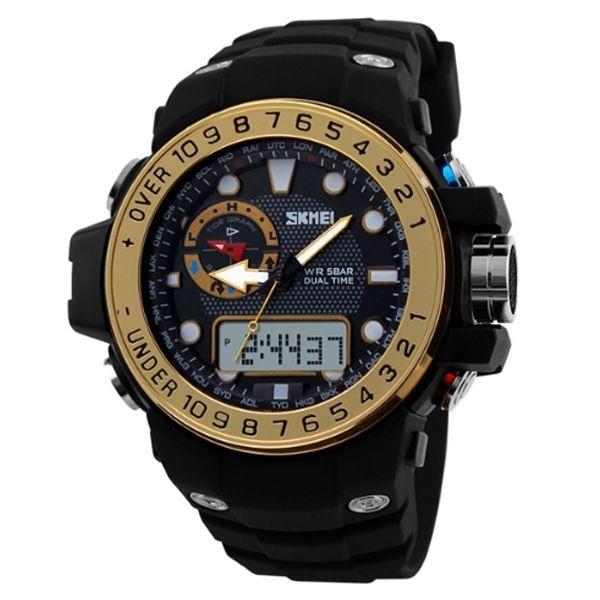 Relógio Masculino Skmei AnaDigi 1063 - Preto e Dourado