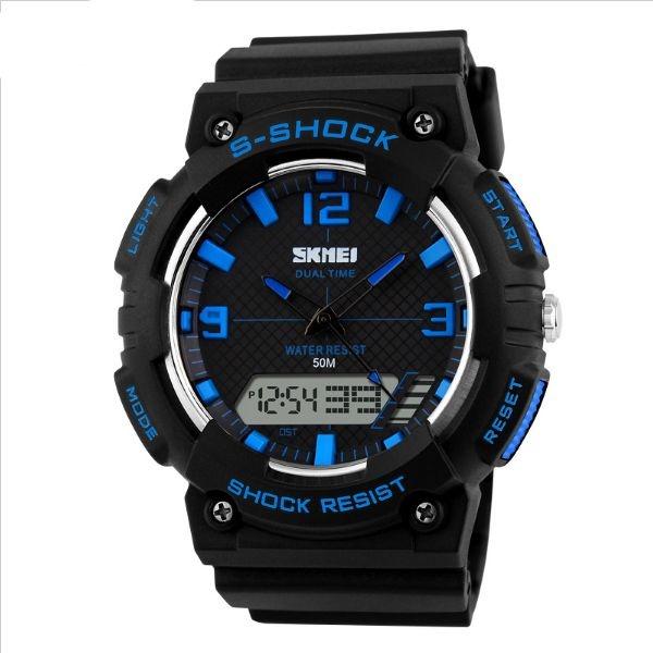 Relógio Masculino Skmei Anadigi 1057 PT-AZ