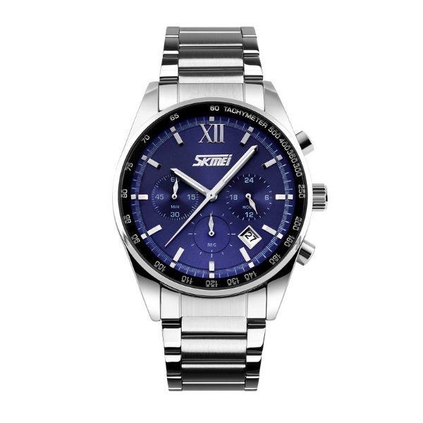 Relógio Masculino Skmei Analógico 9096 Prata e Azul
