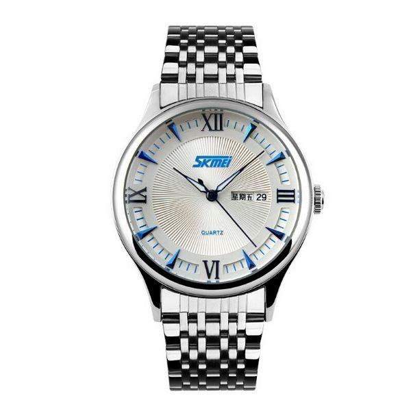 Relógio Masculino Skmei Analógico 9091 Prata e Azul