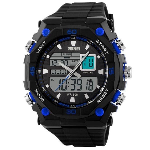 Relógio Masculino Skmei Anadigi 1092 Preto e Azul