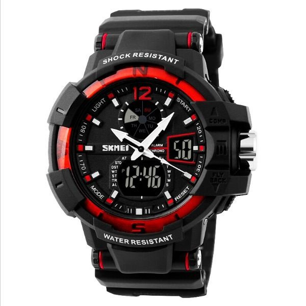 Relógio Masculino Skmei Anadigi 1040 Preto e Vermelho