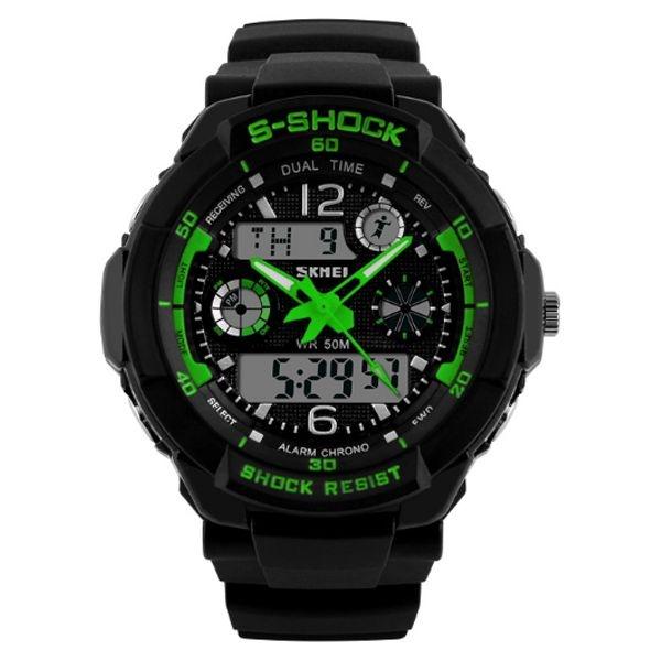 Relógio Masculino Skmei Anadigi 1060 Preto e Verde
