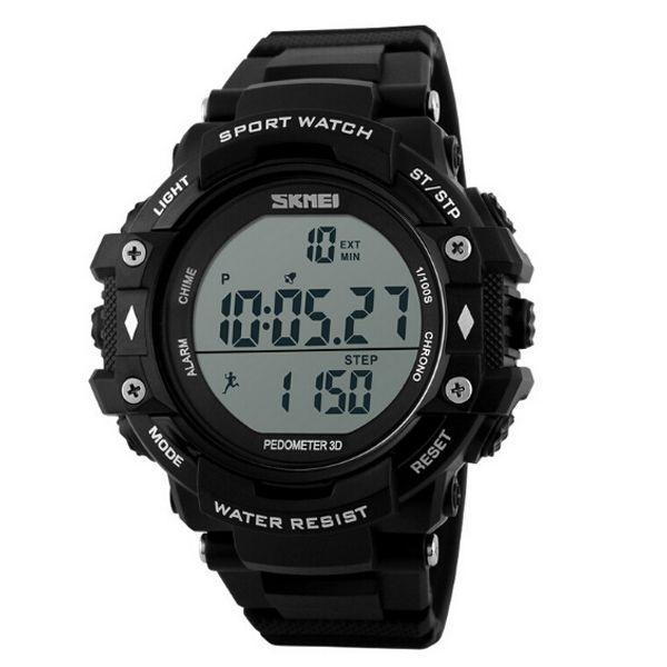 Relógio Pedômetro Masculino Skmei Digital 1128 Preto