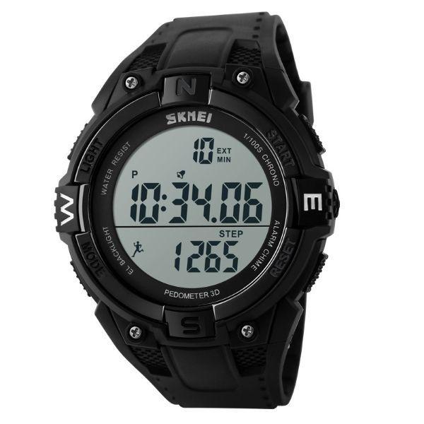 Relógio Pedômetro Masculino Skmei Digital 1141 Preto