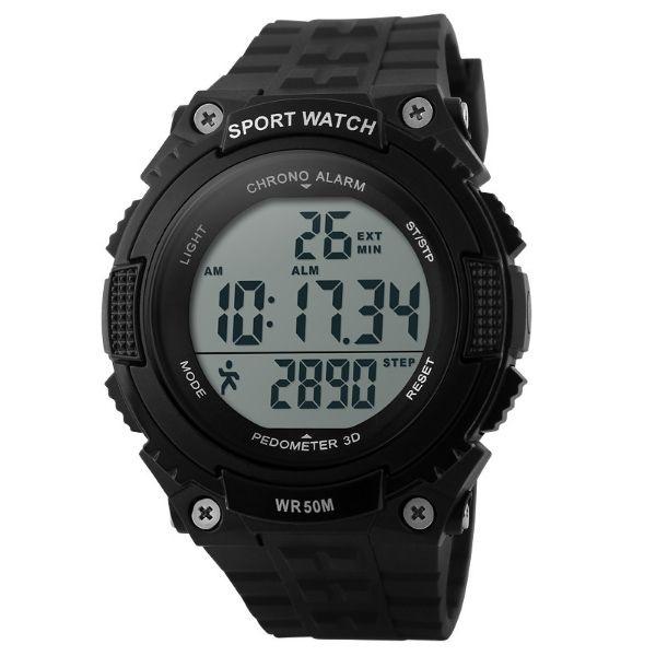 Relógio Pedômetro Masculino Skmei Digital 1112 Preto