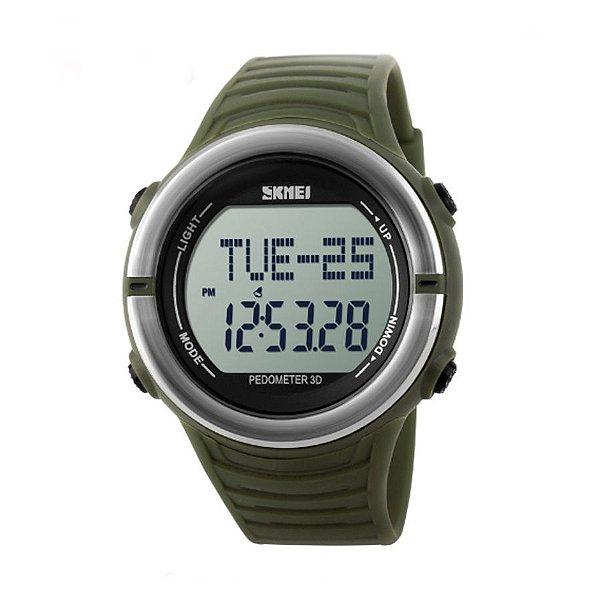 Relógio Pedômetro Masculino Skmei Digital 1111 Verde e Prata