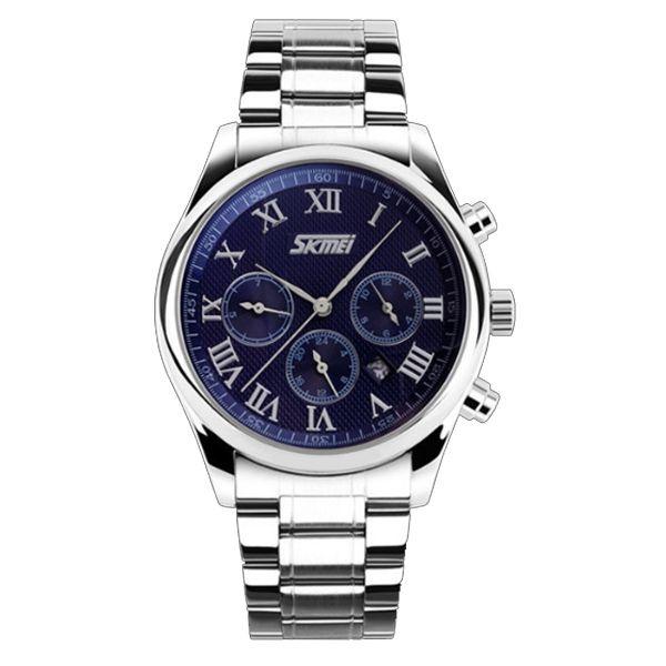 Relógio Masculino Skmei Analógico 9078 Prata e Azul