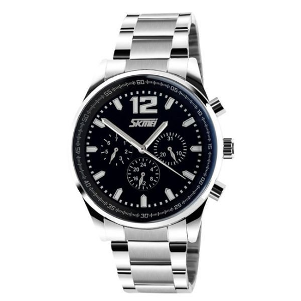 Relógio Masculino Skmei Analógico 9080 Prata e Preto