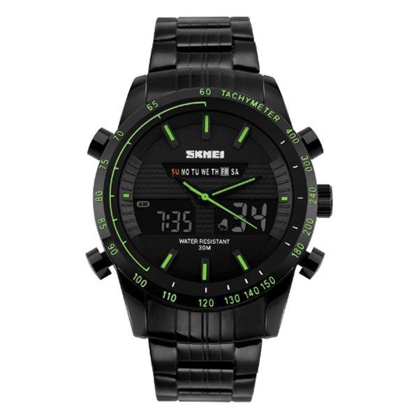 Relógio Masculino Skmei Anadigi 1131 Preto e Verde