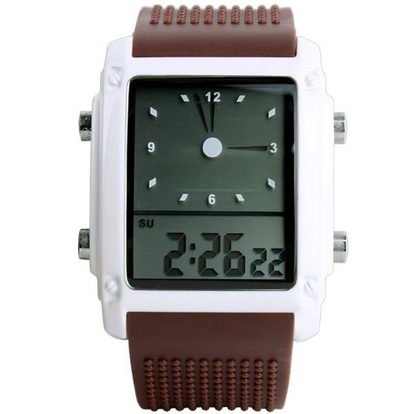 Relógio Masculino Skmei Anadigi 0814G Marrom e Branco