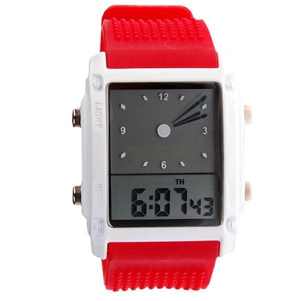 Relógio Masculino Skmei Anadigi 0814G Vermelho e Branco