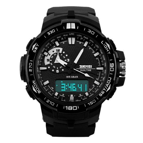 Relógio Masculino Skmei Anadigi 1081 Preto e Branco