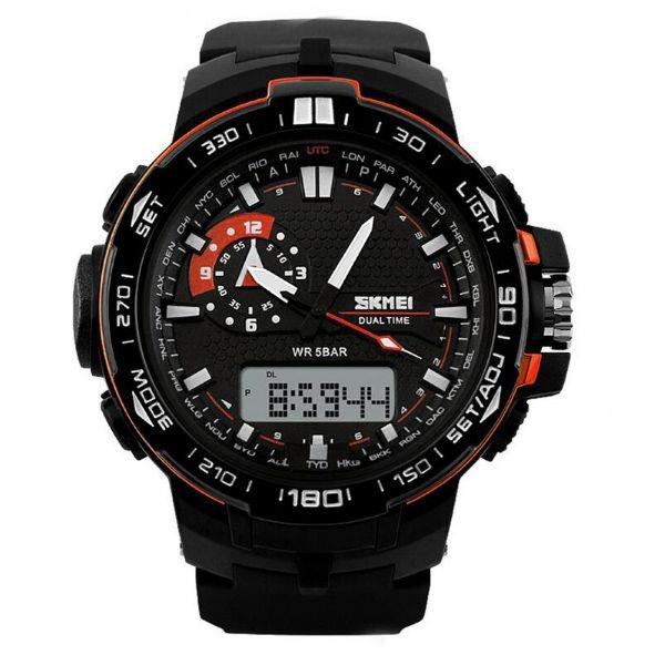 Relógio Masculino Skmei Anadigi 1081 Preto e Laranja