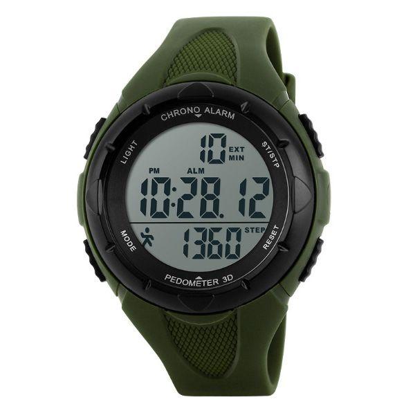 Relógio Pedômetro Masculino Skmei Digital 1108 Verde e Preto