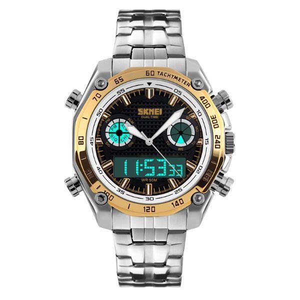 Relógio Masculino Skmei Anadigi 1204 Dourado