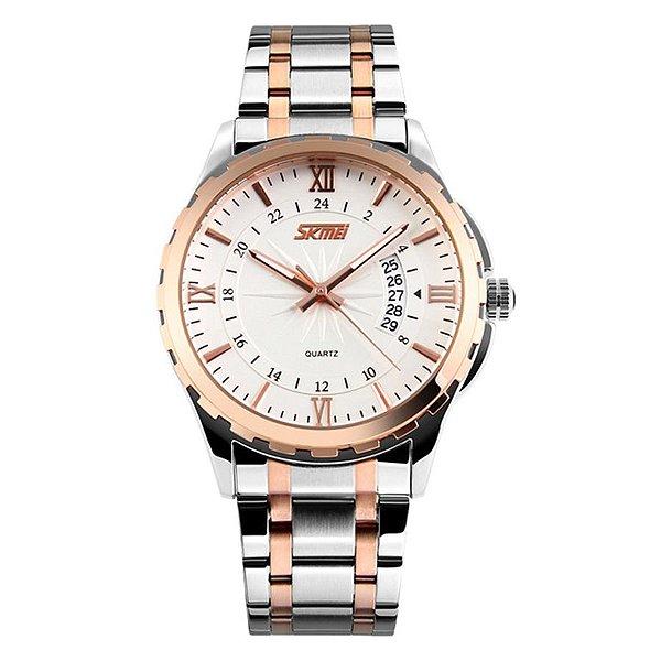 Relógio Masculino Skmei Analógico 9069 - Branco e Cobre
