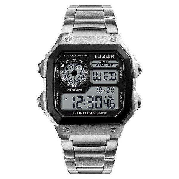 Relógio Masculino Tuguir Digital TG1335 - Prata e Preto