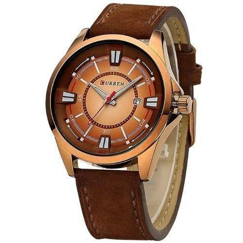 Relógio Masculino Curren Analógico 8155 Marrom e Dourado