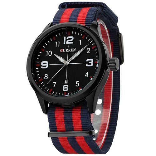 Relógio Masculino Curren Analógico 8195 Azul e Vermelho
