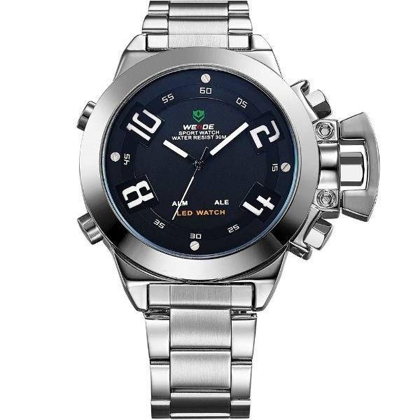 Relógio Masculino Weide Anadigi WH-1008 Prata e Preto