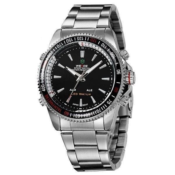 Relógio Masculino Weide Anadigi WH-903 Prata e Preto