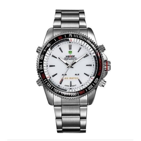 Relógio Masculino Weide Anadigi WH-903 Prata e Branco