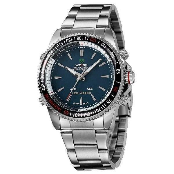 Relógio Masculino Weide Anadigi WH-903 Prata e Verde