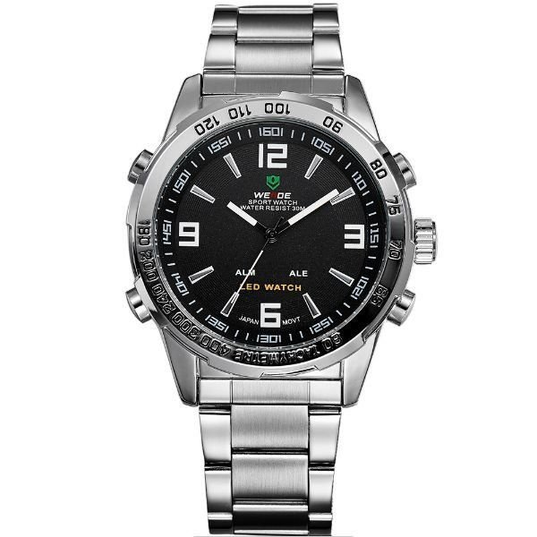 Relógio Masculino Weide Anadigi WH-1009 Prata e Preto