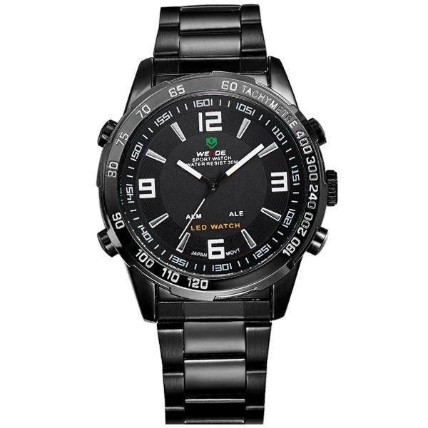 Relógio Masculino Weide Anadigi WH-1009 Preto e Branco
