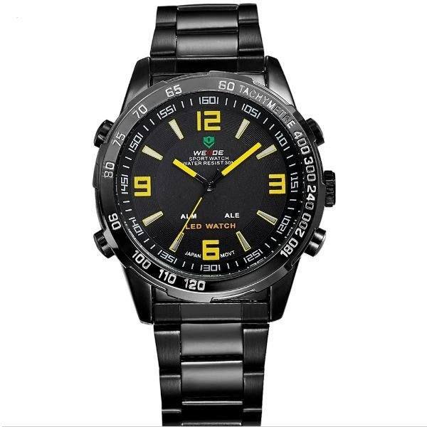 Relógio Masculino Weide Anadigi WH-1009 Preto e Amarelo