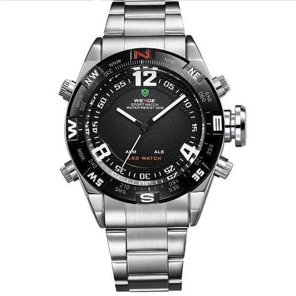 Relógio Masculino Weide Anadigi WH-2310 Prata e Preto